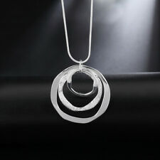 925 Sterling Silver Triple Circles Pendant Necklace + Bag UK Womens