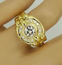 HANDMADE 18K YELLOW GOLD ROUND DIAMOND SOLITAIRE w/ ACCENTS MENS SIGNET RING VS