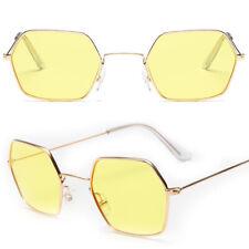 Womens Mens Retro Hexagon Square Sunglasses Metal Frame Glasses Shades Eyewear
