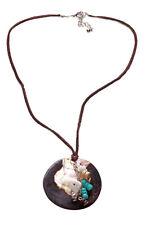 Marrón Shell piedra & Funky Trinkets Gamuza apoyo Collar (zx54)