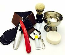 6 PC Shaving Set - Cut Throat Straight Razor, DOVO Paste, Leather Strop, Brush