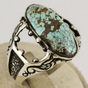 Natural Turquoise Stone Turkish Handmade 925 Sterling Silver Men's Ring 11.25 US