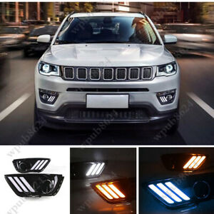 For 17-2019 Jeep Compass LED DRL Daytime Running Light/Front Fog Lights 3 Colors