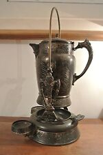 Rogers & Bro.Triple Plate Tilting Ice Water Pitcher & Stand w/ Ceramic Insert
