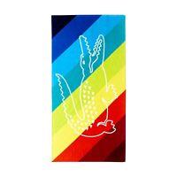 Y-042218 New NWT Lacoste Crocostripe X-Large 36x72 Beach Towel Rainbow