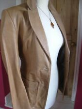 Ladies NEXT Brown tan Leather Jacket coat blazer size UK 12 10 hip length short