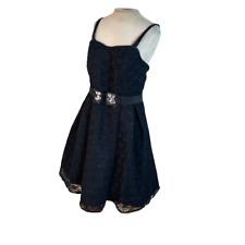 Lane Bryant Fit Flare Belted Mini Lace Black Dress Size 14