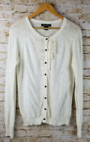 EDDIE BAUER Womens LARGE L Ivory White Ribbon Front Long Sleeve Cardigan Sweater