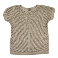 Chicos Womens Sweater Crochet Round Neck Short Sleeve Oatmeal Size 1 (M/8)