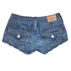 True Religion Joey Cut Off Shorts Sz 25 Dark Denim Distressed Dukes Daisy Womens