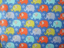 Small Elephants on Blue Brushed Cotton 100% cotton fabric per fat quarter