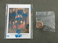 New Old Stock SNK Post Card Set & USA Made Neo Geo Fan Club Lapel Pin MVS AES CD