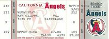 Baseball Ticket California Angels - 1991 - 5/1 Cleveland Indians Full