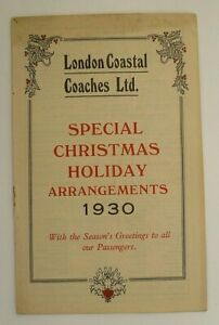 LONDON COASTAL COACHES 1930 ~ CHRISTMAS HOLIDAY SERVICES T/T BOOKLET