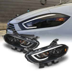 [TRON STYLE] Black NEON TUBE Headlight Lamp For 13-16 Dodge Dart Halogen Model