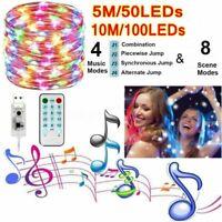 5M 10M Music Remote Control Fairy Light USB LED String Lamp Xmas Party Decor US