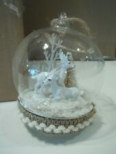 Pottery Barn Lit Reindeer In Glass Cloche Christmas Ornament #2400