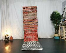 Moroccan Handmade Vintage Runner Rug 2'5x10 Geometric Berber Red Cotton Wool Rug