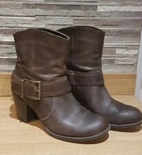 Ladies Next Brown Genuine Leather Biker Style Ankle Boots Size EU 38 UK 5
