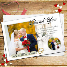10 Personalised Champagne Wedding Day Thank You PHOTO Cards N218