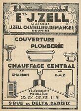 W3878 Chauffage central au charbon - J. ZELL - Pubblicità 1929 - Advertising