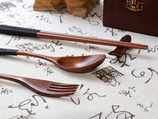 3PCS Japanese Vintage Wooden Chopsticks Spoon Fork Tableware 3pcs Set New Gifts
