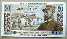 SAINT-PIERRE-ET-MIQUELON 20 FRANCS P24 1950-60 UNC