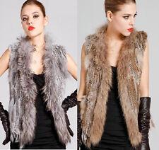 Women Real Racoon Collar Trim Knitted Rabbit Fur Vest Waistcoat Gilet Jacket New