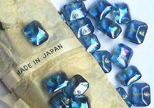 Vintage Glass Buttons Gorgeous Self Shank Antique iridescent Octagon Blue #1024A
