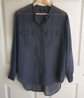 Madewell Womens Oversized Sheer Blue Gray Ice Leaf Blouse Top Shirt Size XS