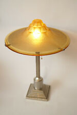 """New listing Single Piece Type Deco Table Lamp Honey Shadow """" Nickel Plated Steel Collector"""