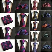 Men's Fashion Paisley Floral Necktie Pocket Square Ties Handkerchief Set HZ207