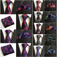 Men's Fashion Paisley Floral Necktie Pocket Square Ties Handkerchief Set HZ207