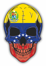 "Skull Flag Venezuela Car Bumper Sticker 4"" x 5"""