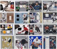 Game Used Jersey Cards Choose From List SP Low Numbered Prime NHL Hockey