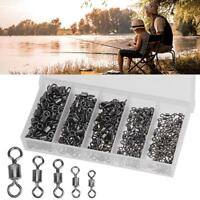 250pcs/kit Ball Bearing Swivels Solid Ring Fishing Hook Connectors Tackle w/ Box
