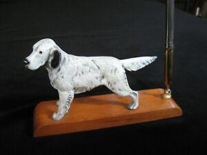 VINTAGE CAST IRON ENGLISH SETTER DOG DESK PEN HOLDER Art Deco Silver Pen Hunting