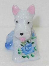 Boyd Glass Duke Scottie Dog Handpainted Cotton Carnival with Blue Flower