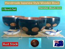 NEW Handmade Japanese Style Wooden Rice Bowls Dinner Set - 3 bowls/set (B157)