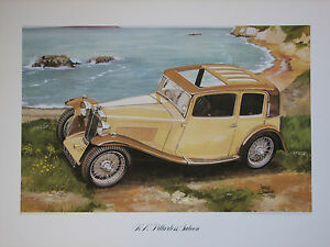 MG K N Pillarless Saloon. Vintage Car Print. MG print.