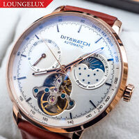 Mens Automatic Mechanical Watch Dual Time Flywheel Rose Gold White Dial Brown