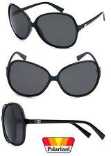 Fashion Women Fashion Oversized Round Poarized Sunglasses - Black