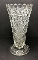 "Vintage 8"" Tall Indiana Pressed Glass Clear Diamond Point Pattern Vase"