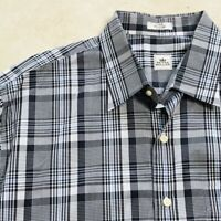 PETER MILLAR Mens Easy Care Dress Shirt Black I Gray I Blue Plaid Check Large L