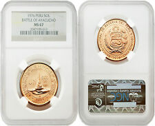 Peru 1976 Battle of Ayacucho One Sol Gold Coin NGC MS67