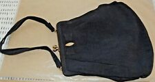 Magid Vintage Handbag Cloth Purse with Rhinestone on front, Gold tone Clasp.