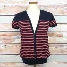 J. Crew Striped Short Sleeve Cardigan Navy & Melon Pink Size Medium Button Front
