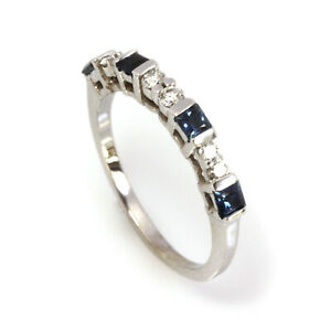 0.7 ctw Natural Princess Sapphire & Diamond Solid 14k White Gold Band Ring 2.6MM