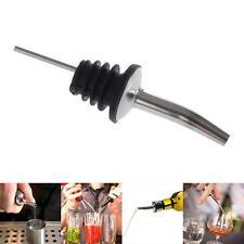 Liquor Spirit Pourer Flow Wine Bottles Spout Rubber Stopper Stainless Steel #y