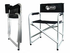 Hyfive Directors Chair Aluminium Folding Camping Seat With Arm Black